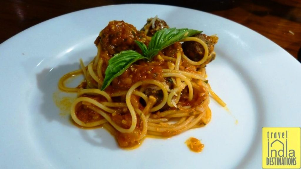 Spaghetti with Meat Balls at Indigo Delicatessen