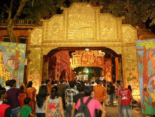 Decorations of Badamtala Ashar Sangha Kolkata