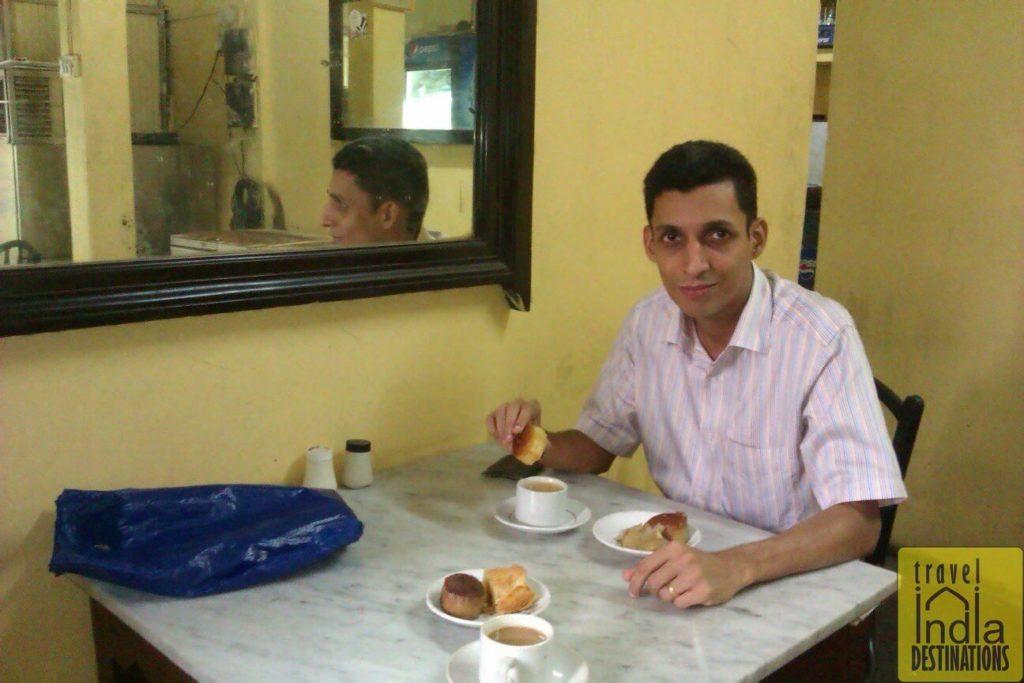 Enjoying Mawa Cake and Tea at Merwan