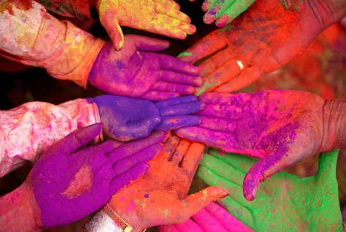 Colored Hands of Holi