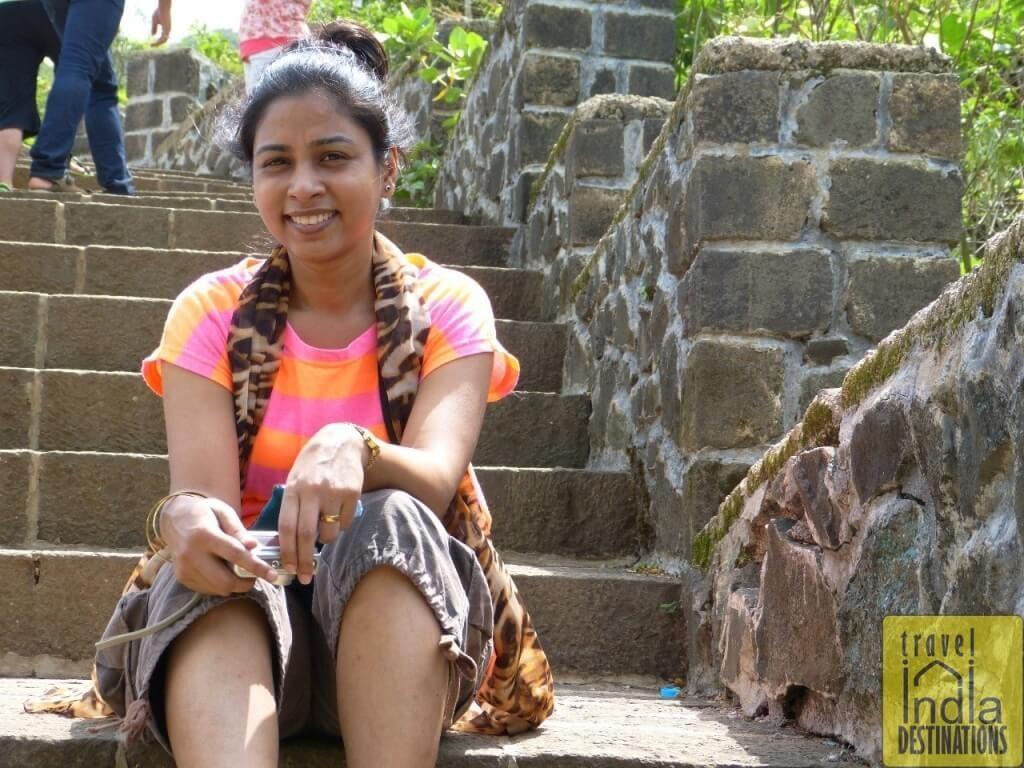 Sarah at Bhaja Caves Steps